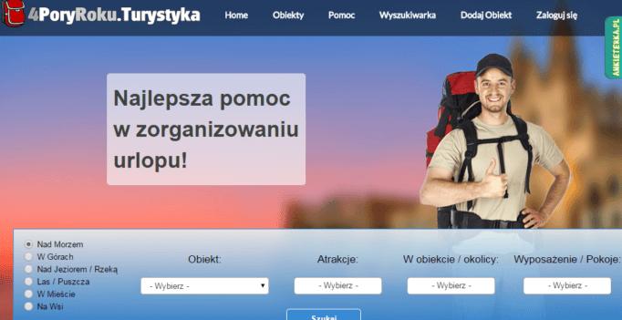 Zrzut ekranu strony z noclegami