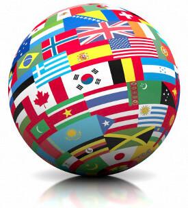 Flagi świata na kuli ziemskiej