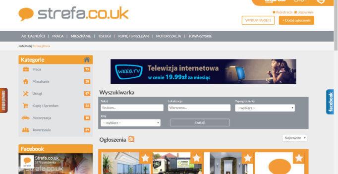 Zrzut ekranu ze strony strefa.co.uk