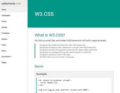 Zrzut ekranu w3.css