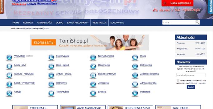 Zrzut ekranu ze strony oglaszamy24h.pl
